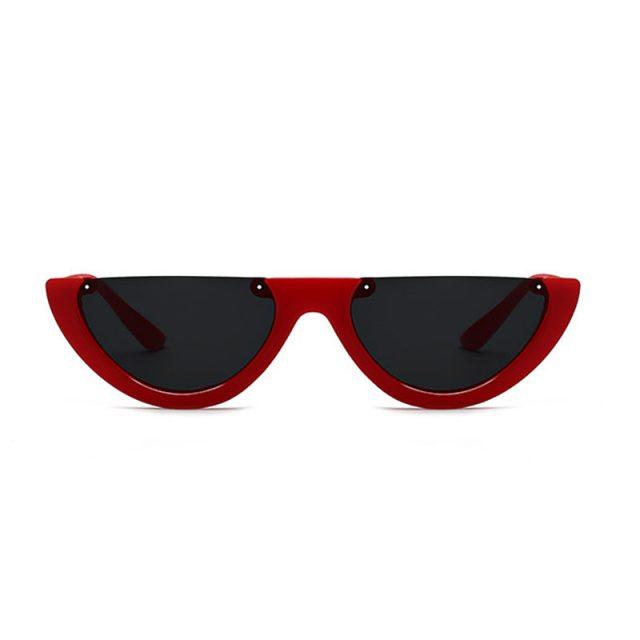 FEISHINI Unique Half Frame Glasses Women Cat Eye Sunglasses Brand Designer Fashion High Quality Ladies Sunglass Transparent