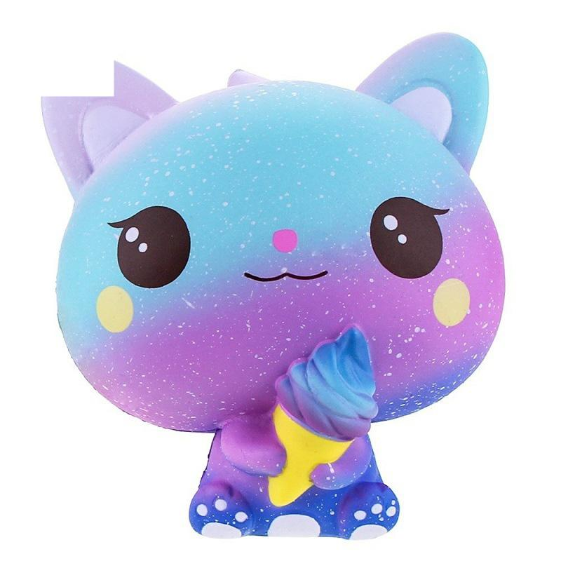 New Galaxy Ice Cream Cat Kitty Squishy Slow Rising Cute Jumbo Strap Soft Squeeze Scented Bread Cake Toy Gift Kid Fun 11*11*7CM
