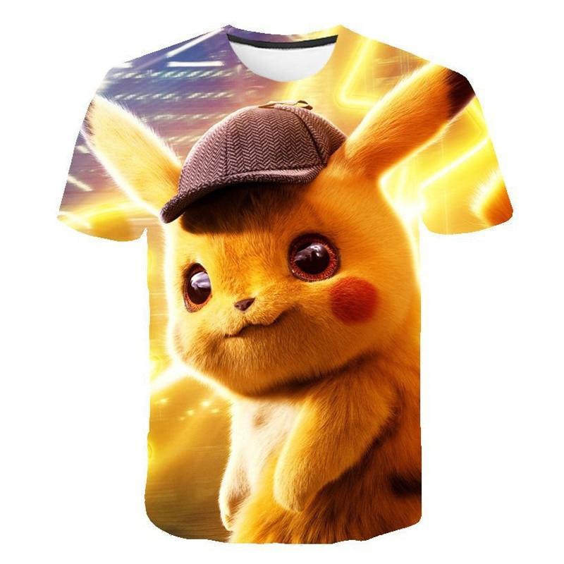 2019 New Cartoon kids T shirts Pokemon Detective Pikachu 3D Printed Children T-shirt Summer Short Sleeve T shirt Asian size