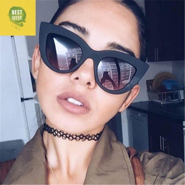 CURTAIN Lunette de Soleil 2019 European and American Retro Cat Eye Sunglasses Trend Wild Style Sun Glasses fation Sunglasses