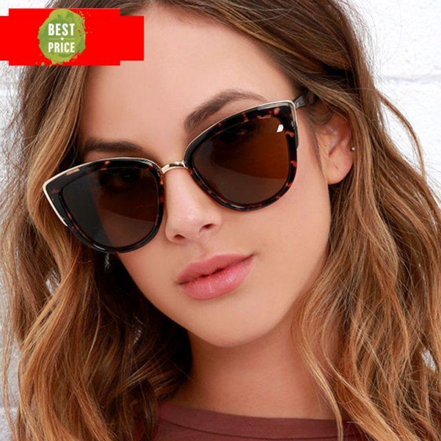 RBROVO 2019 Fashion Metal Sunglasses Women Vintage Cateye Eyewear For Women Mirror Retro Party Oculos De Sol Feminino UV400