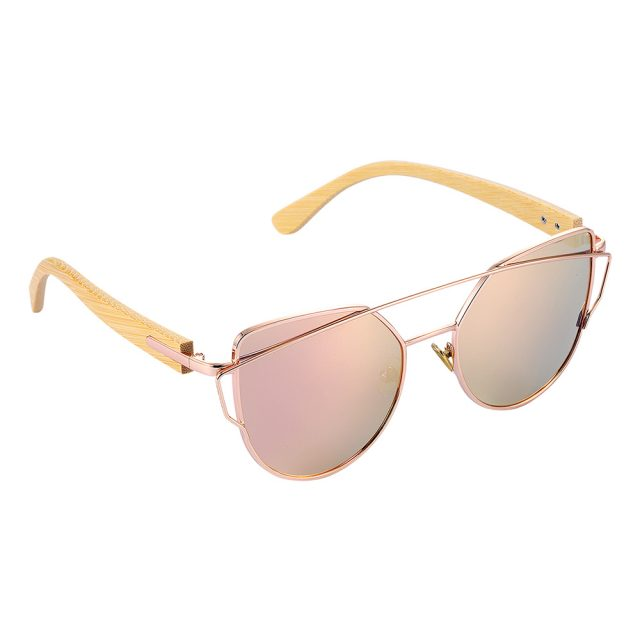 BARCUR Bamboo Cat Eye Sunglasses Polarized Metal Frame Wood Glasses Lady Luxury Fashion Sun Shades With Box Free