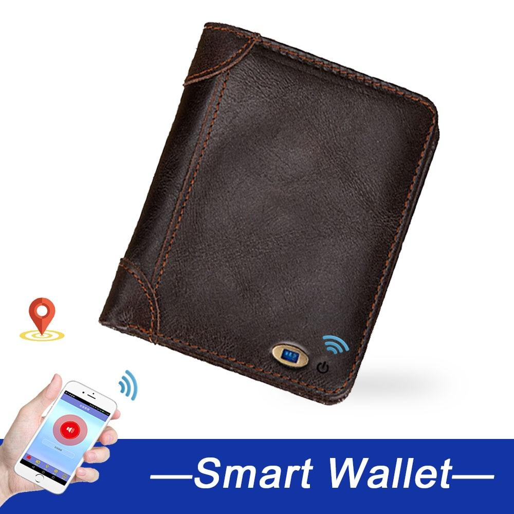 Smart men wallets anti-lost genuine leather man high quality short wallet Multi-functional purses men's purse for gift