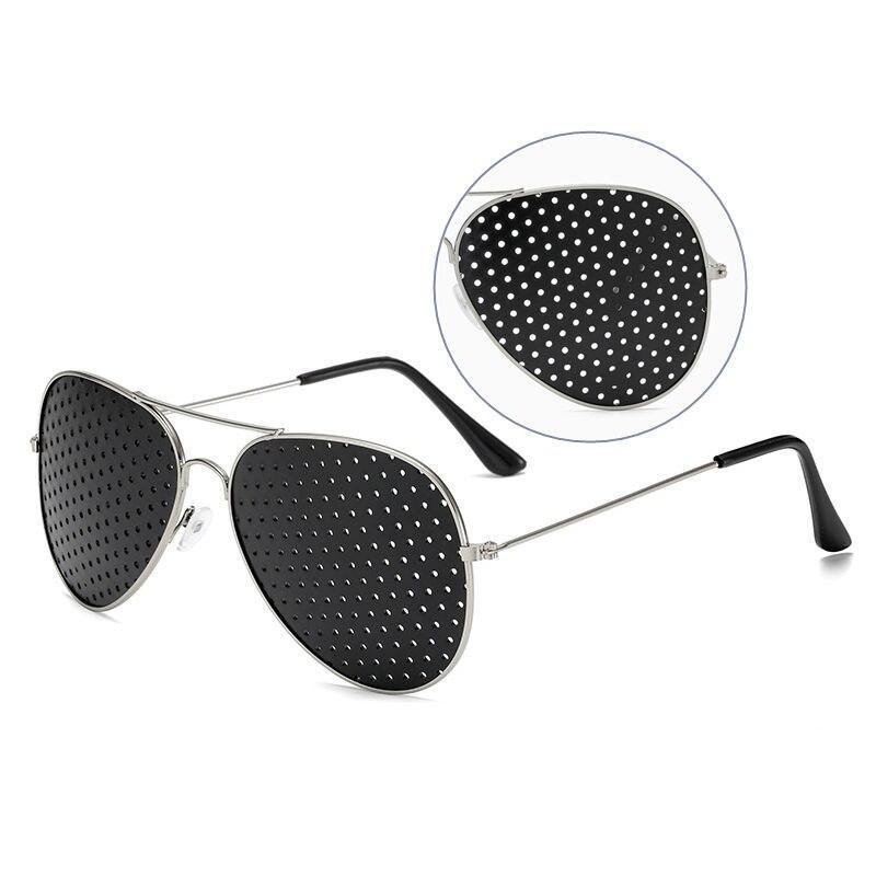 SWOKENCE Pinholes Goggles Women Men Alloy Frame Anti Myopia Small Holes Vision Care Glasses Eye Exercise Anti Fatigue F059